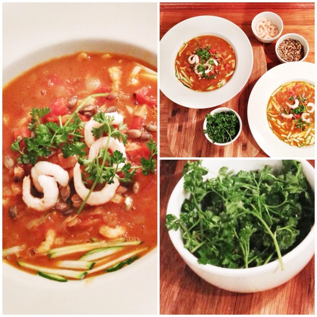 tomatsuppe med rejer - hjemmelavet