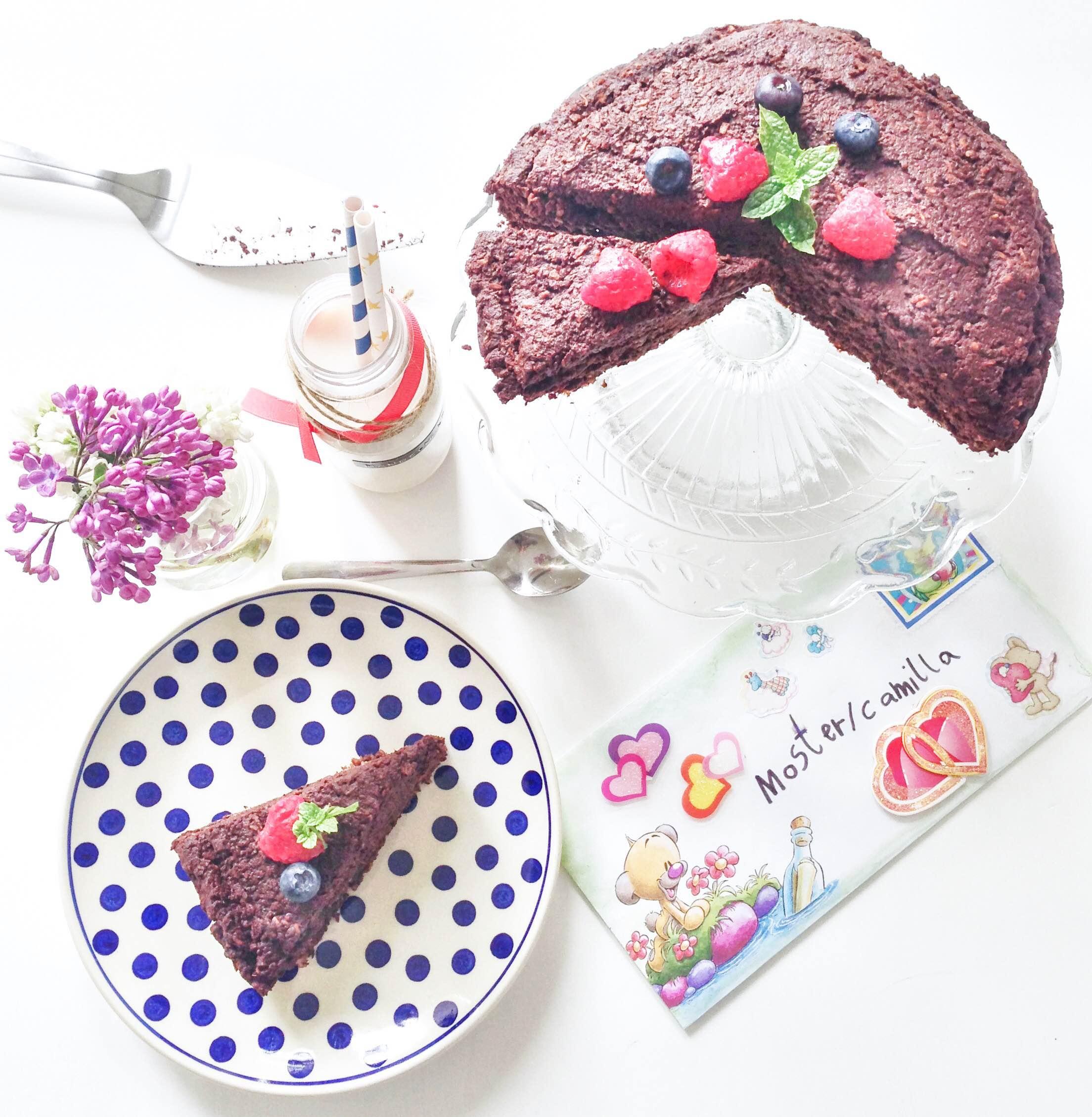 Drømmekage opskrift. Med chokolade. Sund og uden sukker og mælk. Sunde kager, sunde desserter