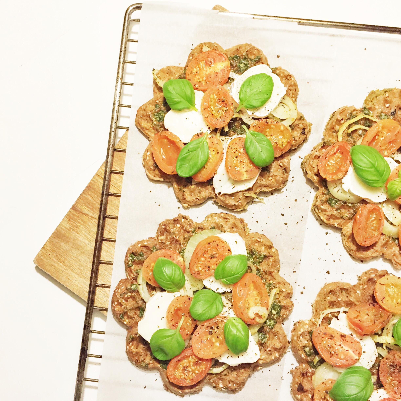 bruschetta vafler - sund forret, aftensmad og tilbehør