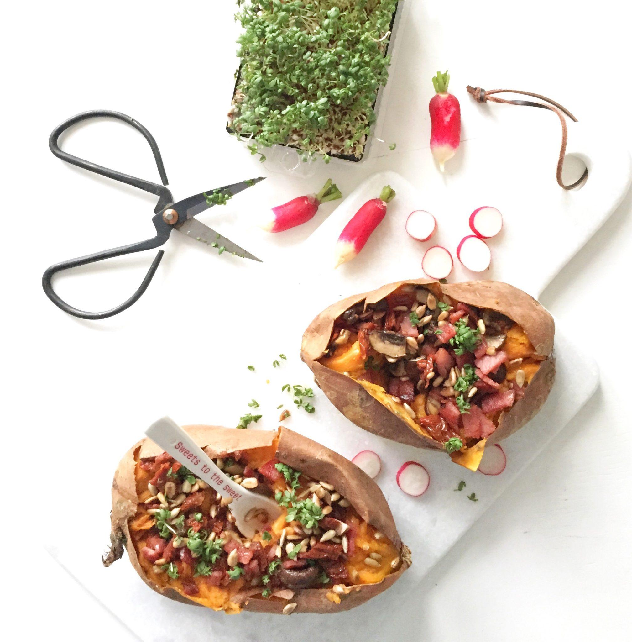 Sund mad og opskrift på søde kartofler med fyld. Farverigt og sommerligt mad