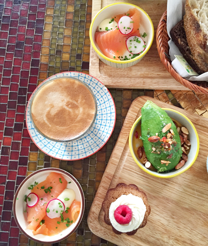 København Vesterbro brunch. Avokado, laks med rygeost, muffin og friskpresset juice