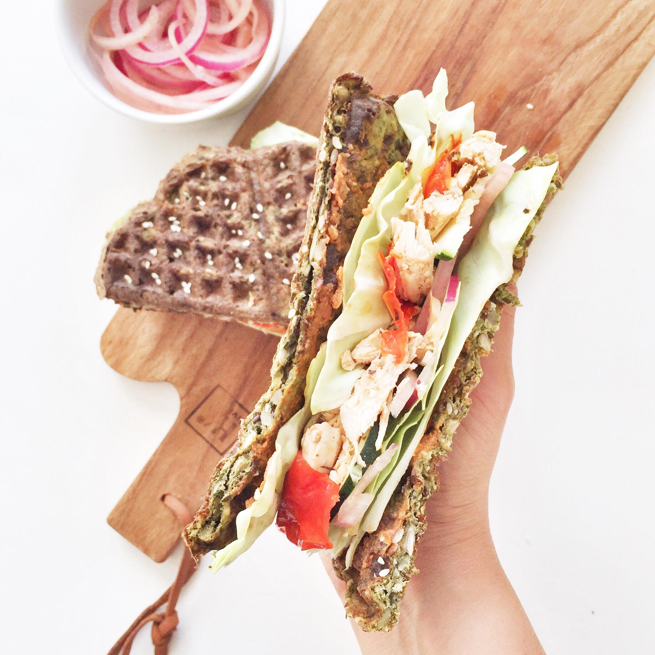 Vaffel toast - sund og glutenfri og med masser af grøntsager i en vaffel