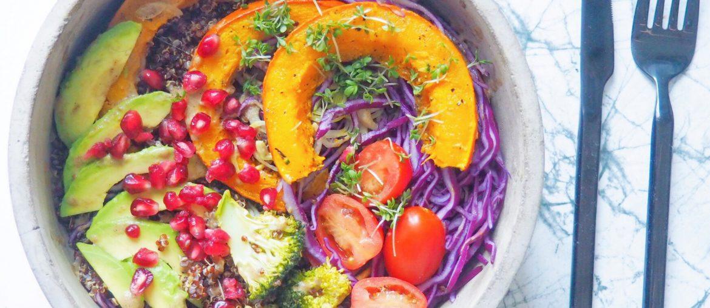 Bowl med græskar og rødkål