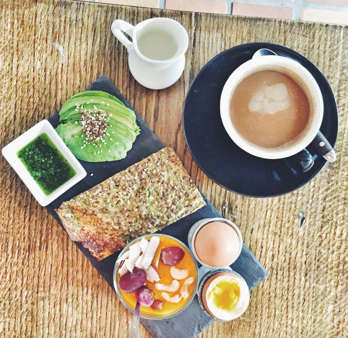 Breakfast at Social, Nørrebro, København. Zucchini bread, avocado, chia pudding with mango, pesto, coffee.