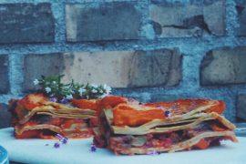Vegansk græskarlasagne med plader af linser