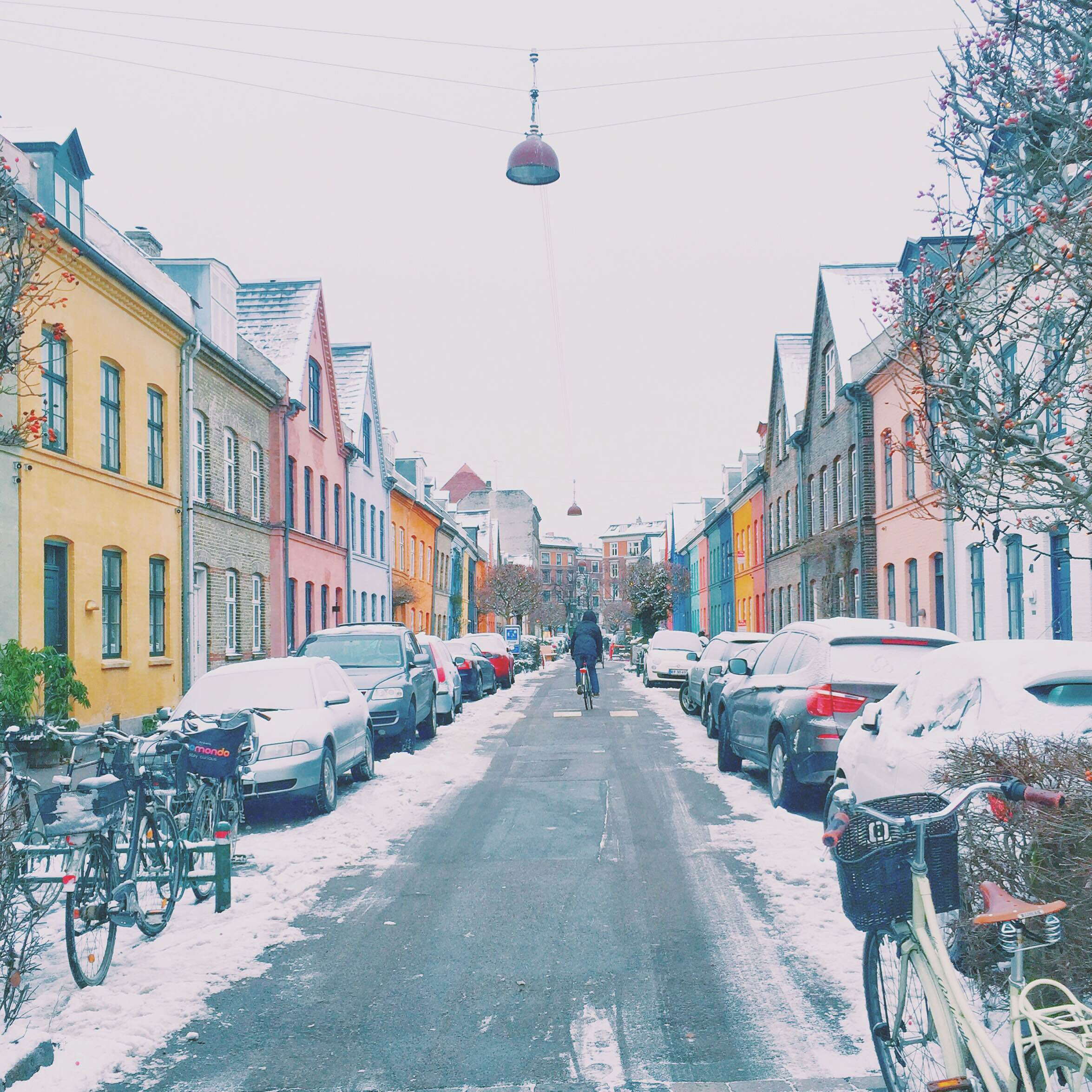 Snow and colorful houses in Copenhagen