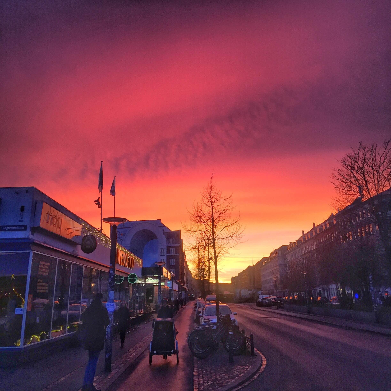 Pink sky, kødbyen. Christianercykel på Vesterbro