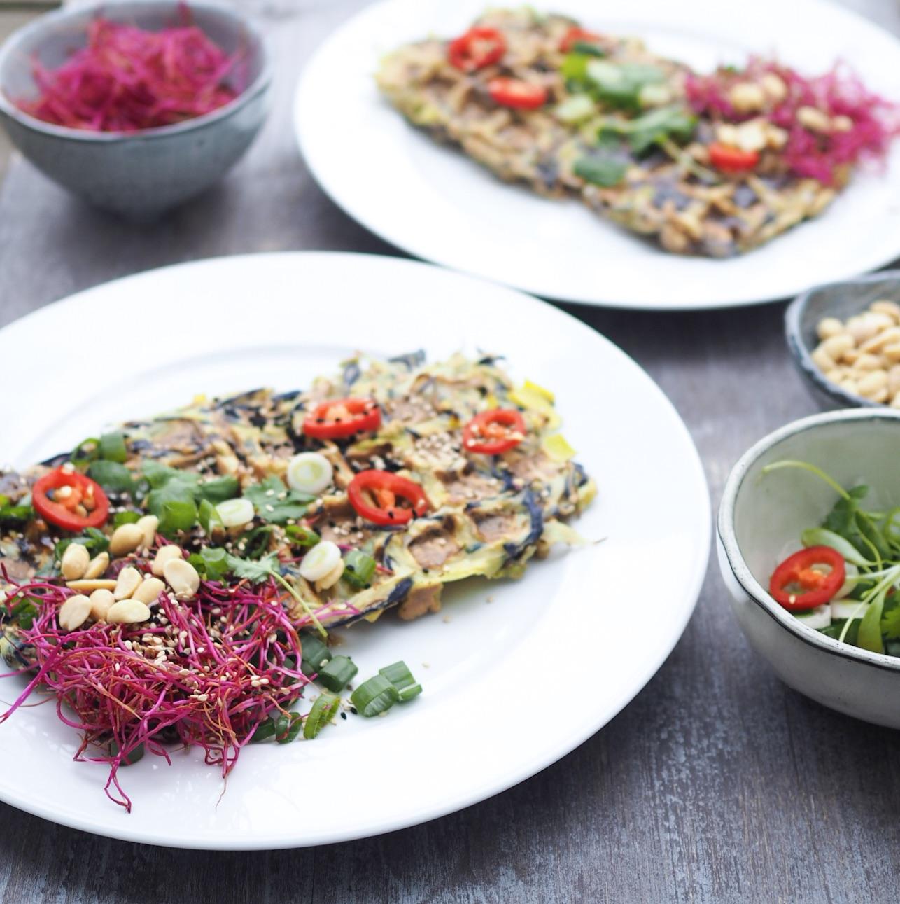 Opskrift på okonomiyaki - japansk pandekage, nu som vaffel