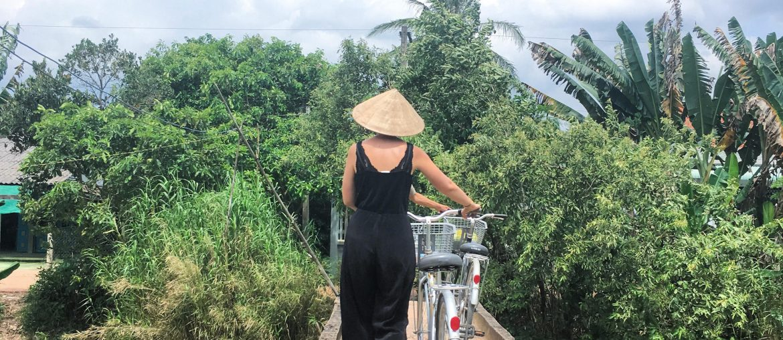 udflugt i mekong delta på cykel i Vietnam