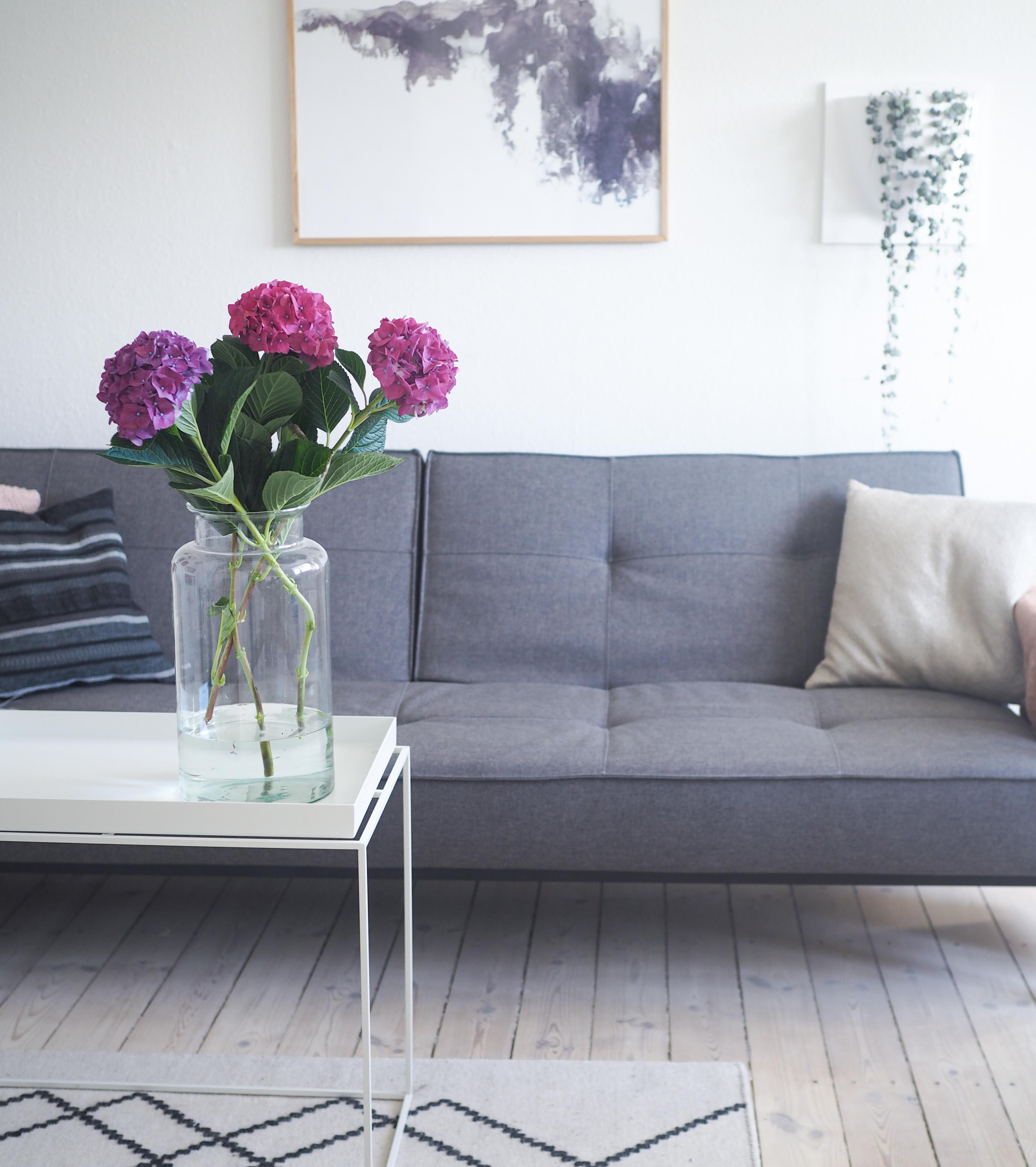 blomster og hjemmekontor. Arbejde hjemmefra i sin egen stue med hortensia og hygge