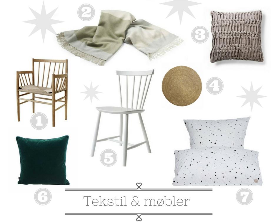 julegaveønsker til stue og soveværelse; stole fra FDB, puder, sengetøj, tæpper