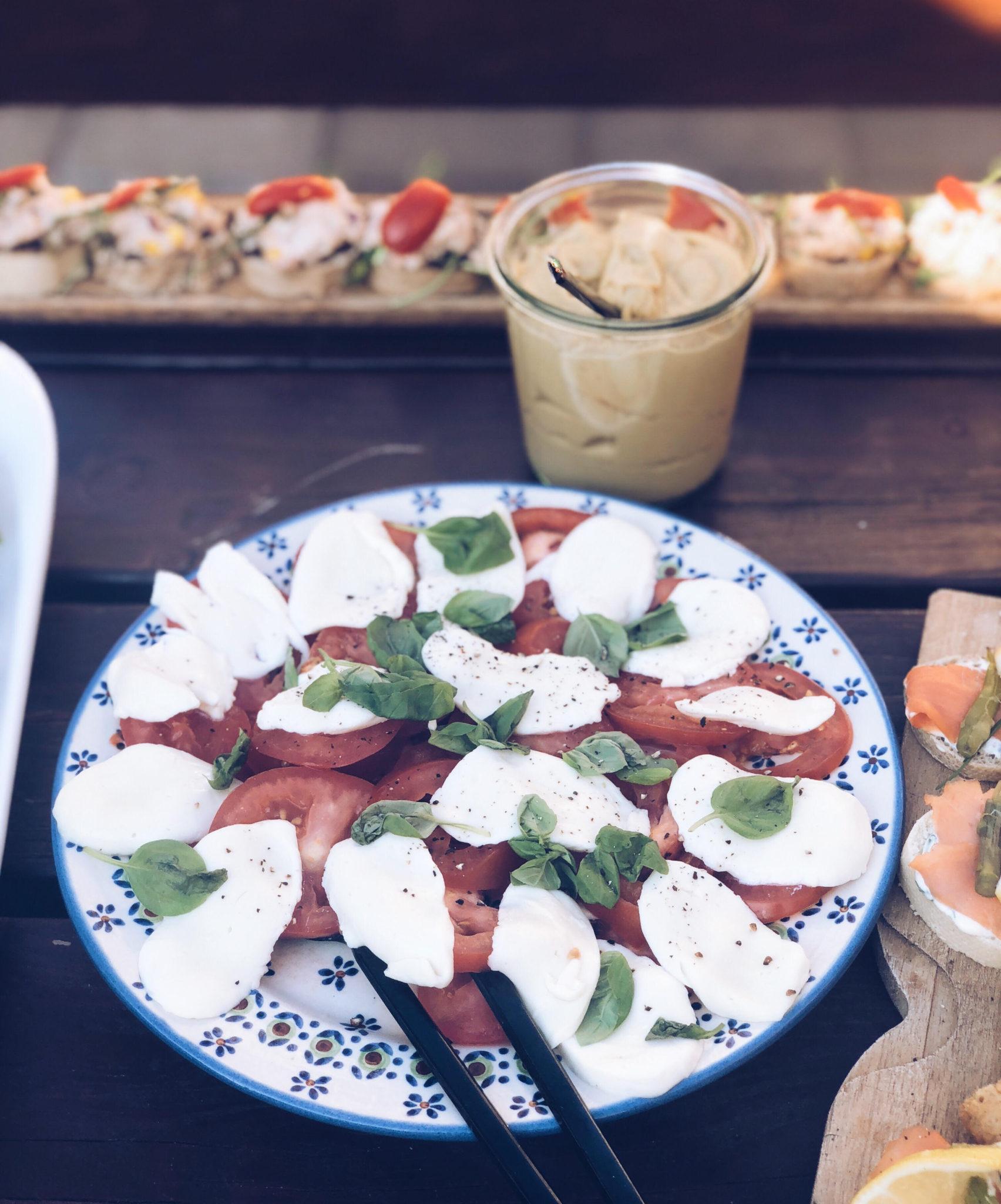 tomat mozzarella salat og vinsmagning