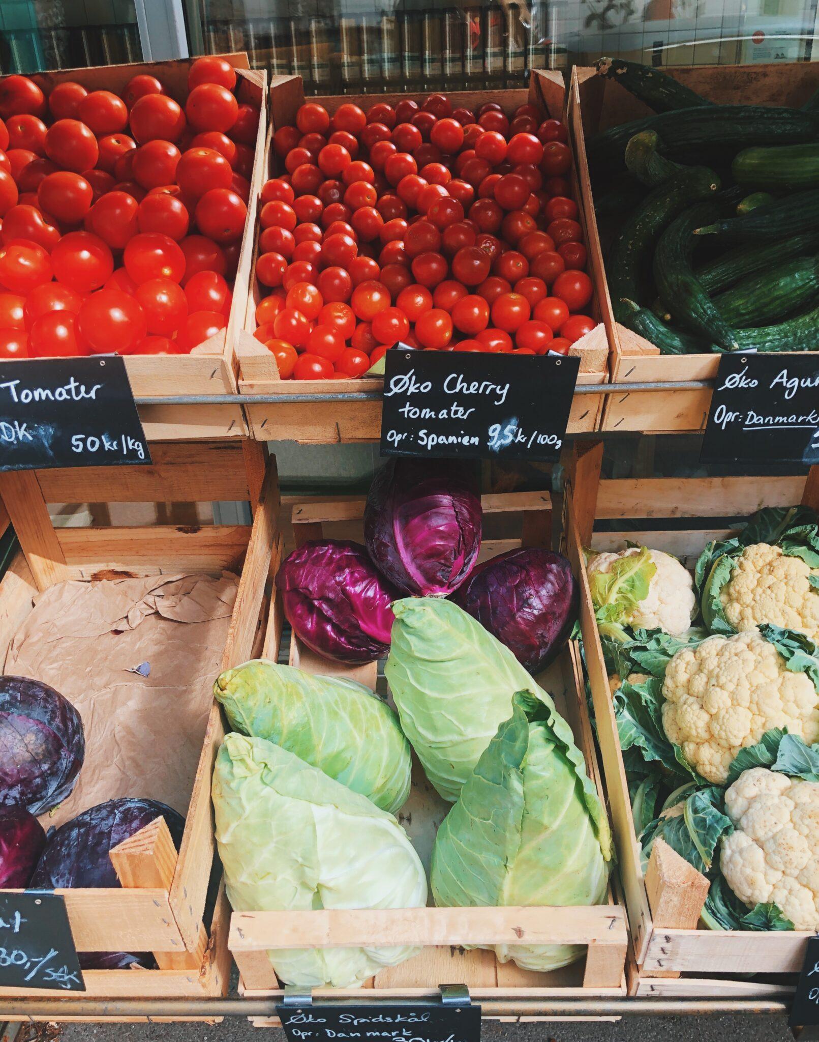 Grøntsager og bæredygtigt mad og markeder i København